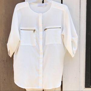 New York & Company zip pocket blouse